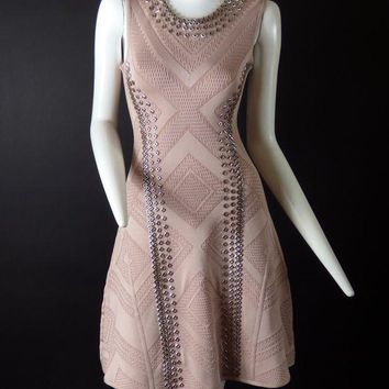ESB3DS HERVE LEGER-Dusty Rose Studded Bodycon Dress, Size- XSmall