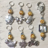 Farmyard Stitch Marker Set- Includes Beaded Stitch Marker Holder