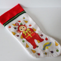 TELETUBBIES CHRISTMAS STOCKING, Vintage Red Teletubbies stocking, Po Felt Christmas Stocking, stocking for child, collectible Christmas item