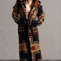 Native Jackets for Women, Reversible Long Coat in Harding Black Pendleton® Fabric