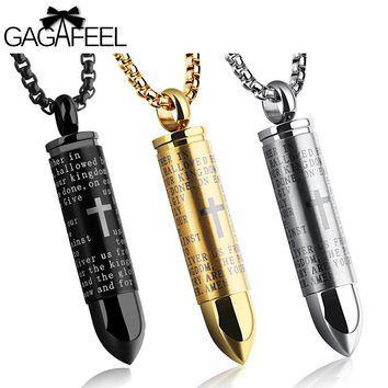Bullet Necklace Pendant Stainless Steel Cross N