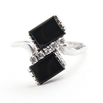 Vintage 10K White Gold Onyx Black Stone & White Spinel Ring -  Mid Century 1960s Size 6 1/2 Signed ESEMCO Fine Jewelry / Modernist Contrast