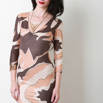 Sublimated Print V-Neck Three Quarter Sleeves Mini Dress