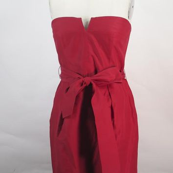 J CREW Red Cotton Bustier Dress Size 12