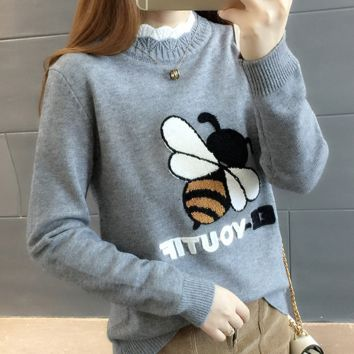Honey acne embroidered semi-high neck extra-thick sweater for women's wear Korean version with loose long-sleeve knit base coat