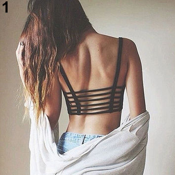 Women Clothing Ladies Bralette Caged Back Cut Out Strappy Padded Bra Bralet Vest Camis Tank Crop Tops Cropped