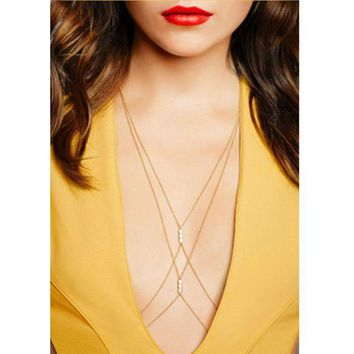 ONETOW Fashion simple sexy cross - chain pearl necklace body chain