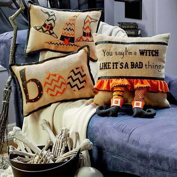 Natural Jute Halloween Witch Theme Pillows