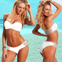 Ruched Push Up Bandeau Top Side  Bikini Set Swimsuit