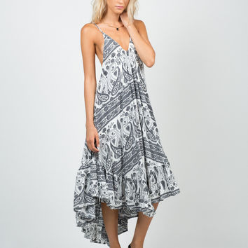 Ruffled Paisley Dress