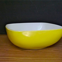 Vintage Yellow Pyrex Bowl Square Hostess Pyrex Bowl