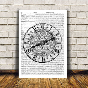 Vintage clock poster Black and white art Retro decor Antique print RTA253
