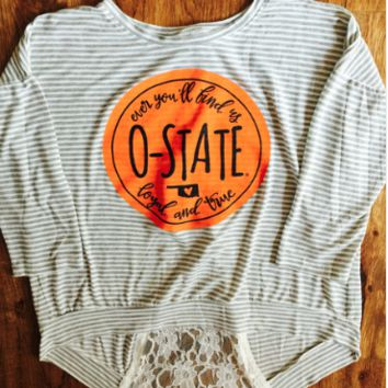 Striped OSU top with Lace back