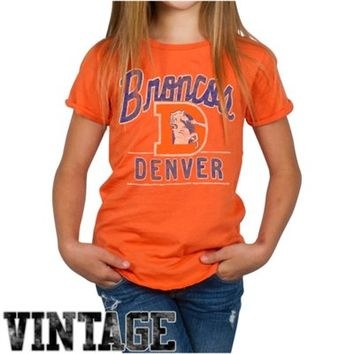 Junk Food Denver Broncos Youth Girls Kickoff T-Shirt - Orange