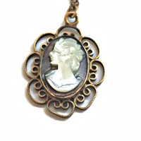 Cameo Pendant Carved Mother of Pearl 12K Gold Filled with Chain