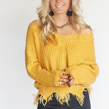 My One Shredded V-Neck Mustard Sweater