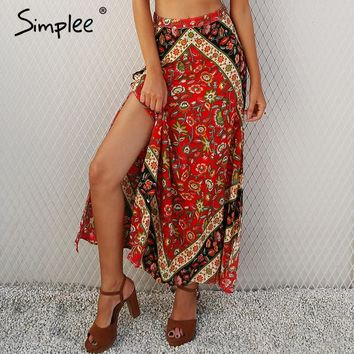 Boho print high waist long skirt high split zipper floral maxi skirt Streetwear beach chic autumn skirt