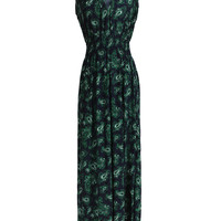 Exotic Feather Prints Maxi Beach Dress