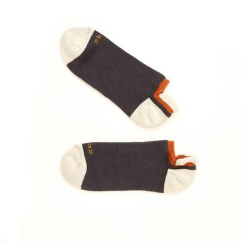 Grey, Orange & Cream No-Show Ped Socks