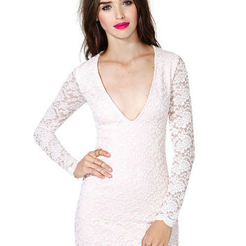 White Long Sleeve Scallop Floral Lace Deep V-Neck Bodycon Mini Dress