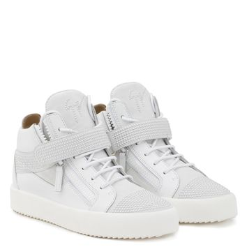 Giuseppe Zanotti Gz Derrick White Calf Leather And White Suede Mid Top Sneaker - Best Deal Online