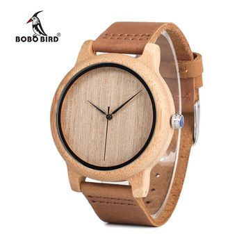 BOBO BIRD Men's Bamboo Wooden Wristwatches With Genuine Leather Band Luxury Wood Watches for Men and Women C-A19 DROP SHIPPING