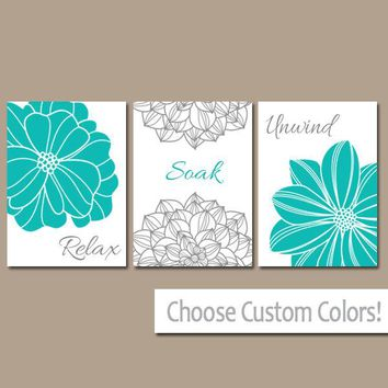 Turquoise BATHROOM WALL Art, CANVAS or Prints, Teal Gray Bathroom Decor, Dahlia Flower Decor, Relax Soak Unwind Pictures, Set of 3 Pictures