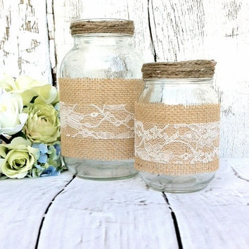 Burlap and Lace Mason Jar Decor Burlap Mason Jars Mason Jar Wedding Centerpieces Burlap Wedding Burlap and Lace Wedding Decor Mason Jars