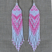Native American Beaded Earrings Inspired. Pink and White Earrings. Dangle Long Earrings. Beadwork.