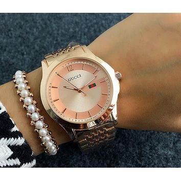 GUCCI tide brand men and women casual fashion watches F-Fushida-8899 Rose gold