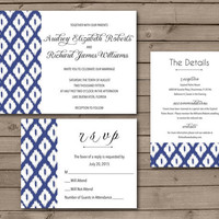 Ikat Printable Wedding Invitations or Wedding Suite: Choose Your Color
