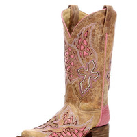 Corral Women's Antique Saddle/Pink Side Wing and Cross Square Toe Boot - A2645