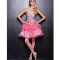 2013 Prom Dresses - Pink Sequin & Tulle Strapless Short Prom Dress - Unique Vintage - Prom dresses, retro dresses, retro swimsuits.