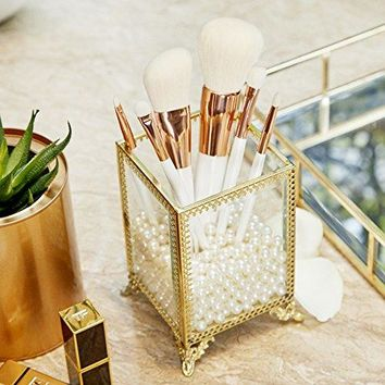 PuTwo Makeup Organizer Gold Makeup Brush Holder with Free White Pearls - Small