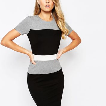 French Connection Lula Stretch Colour Block Dress