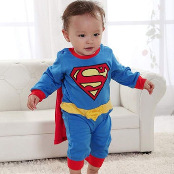 superman Suit Fancy Dress SuperHero Costume for Baby Toddler Kid Boy Romper 77 = 1946252356