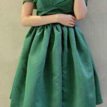 Green Ball Gown Sleeveless Dress