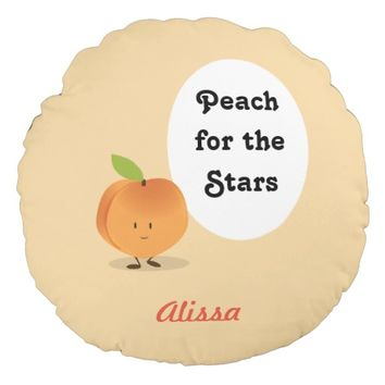 Peach for the Stars | Round Pillow