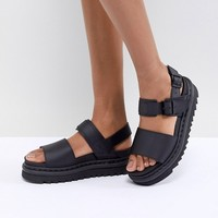 Dr Martens Voss Black Leather Flat Sandals at asos.com