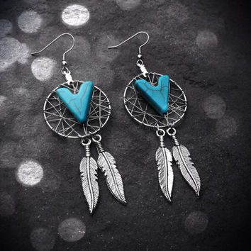 Dream Catcher Earrings - Turquoise Arrow