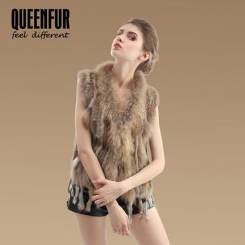 QUEENFUR New Quality Genuine Knitted Rabbit Fur Vest With Raccoon Fur Collar Sleeveless Jacket Real Rabbit Fur Gilet Waistcoat
