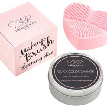 BEST MAKEUP BRUSH CLEANER DUO KIT - Pink Multi-Textured Silicone Heart Mat Cleaning Pad & Quick Color Change Dry Sponge Instantly Removes Color From...