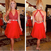 Hot Red Homecoming Dresses, Tulle V-Neck Beadings Short Homecoming Dress