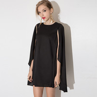 Black A-line Cape Mini Dress