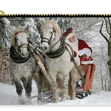 Santa Sleigh With Horses - Carry-All Pouch