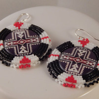 1 inch cabs Beaded dangle Earrings - pow wow fancy jingle ladies traditional dancer - Native American made -Metis beadwork - Pendleton cross