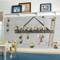 Minions At Work Chair Rail Pre-Pasted Mural (Yellow)