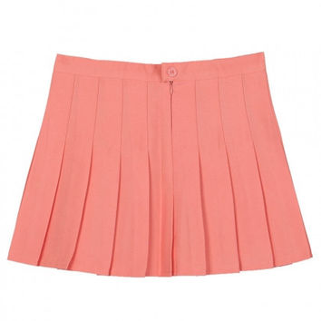 Pink Pleated Mini Skirt