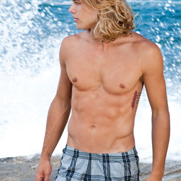 Sauvage Swimwear Charcoal Manhattan Plaid | Mens High End Swim Trunks