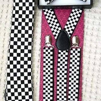 "Black&White Checkers Bow tie,Necktie,and 1"" Black&White Checkered Suspenders-V5"